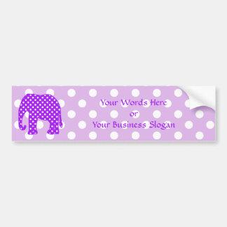 Purple and White Polka Dots Elephant Car Bumper Sticker
