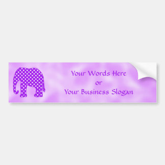 Purple and White Polka Dots Elephant Bumper Sticker