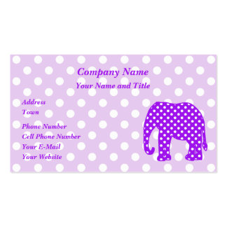 Purple and White Polka Dots Elephant Business Card Templates