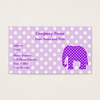 Purple and White Polka Dots Elephant Business Card
