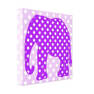 Purple and White Polka Dots Elephant Canvas Print