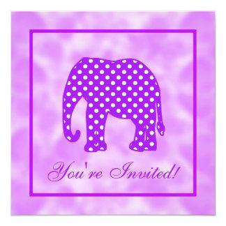 Purple and White Polka Dots Elephant Card
