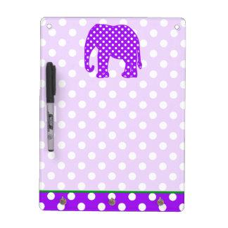 Purple and White Polka Dots Elephant Dry Erase Board