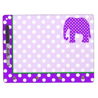 Purple and White Polka Dots Elephant Dry-Erase Board