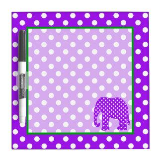 Purple and White Polka Dots Elephant Dry Erase Whiteboards