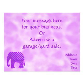 "Purple and White Polka Dots Elephant 8.5"" X 11"" Flyer"