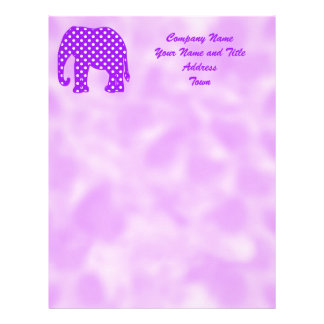 Purple and White Polka Dots Elephant Letterhead