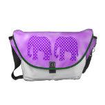 Purple and White Polka Dots Elephant Messenger Bag