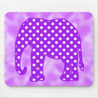 Purple and White Polka Dots Elephant Mouse Pad