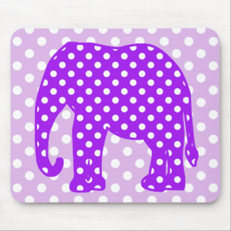 Purple and White Polka Dots Elephant Mouse Pad