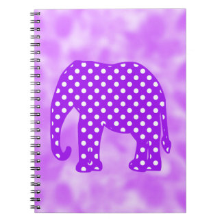 Purple and White Polka Dots Elephant Notebook