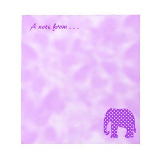 Purple and White Polka Dots Elephant Notepad