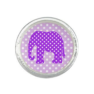 Purple and White Polka Dots Elephant Photo Rings