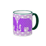 Purple and White Polka Dots Elephant Ringer Mug