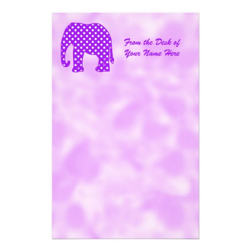 Purple and White Polka Dots Elephant Stationery Paper