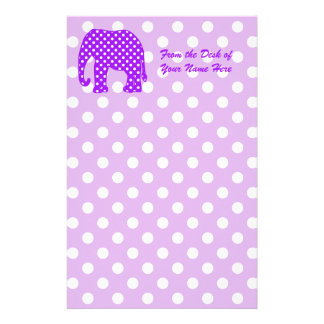 Purple and White Polka Dots Elephant Stationery