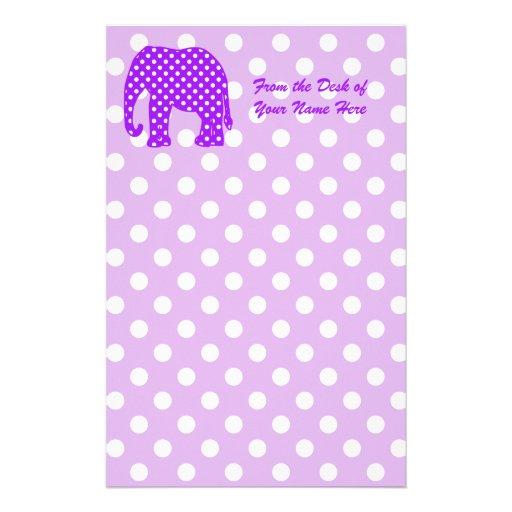 Purple and White Polka Dots Elephant Custom Stationery