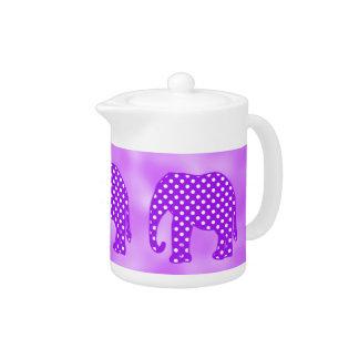 Purple and White Polka Dots Elephant Teapot