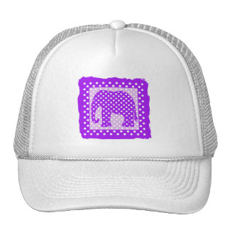 Purple and White Polka Dots Elephant Trucker Hat
