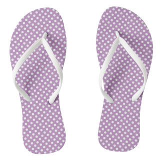 Purple and white polka dots flip flops