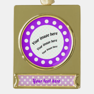 Purple and White Polka Dots Gold Plated Banner Ornament