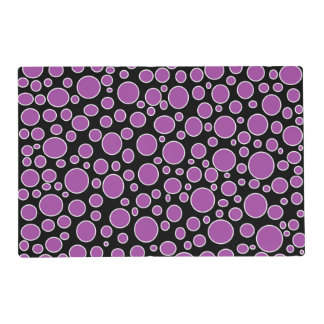 Purple and White Polka Dots Laminated Placemat