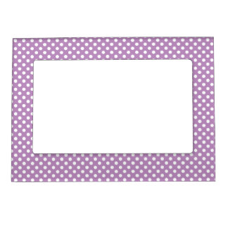 Purple and White Polka Dots Magnetic Frame