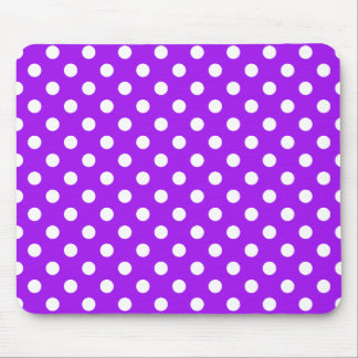 Purple and White Polka Dots Mouse Pad