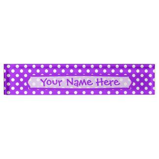 Purple and White Polka Dots Nameplate