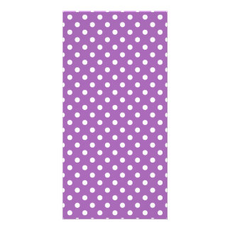 Purple and White Polka Dots Pattern Card
