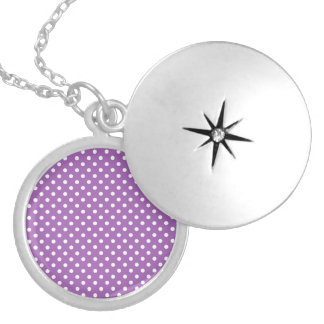 Purple and White Polka Dots Pattern Round Locket Necklace