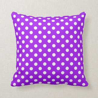 Purple and White Polka Dots Pillow