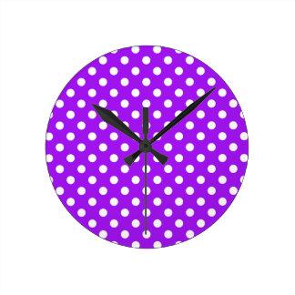 Purple and White Polka Dots Round Clock