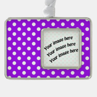 Purple and White Polka Dots Silver Plated Framed Ornament