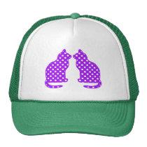 Purple and White Polka Dots Sitting Cat Trucker Hat