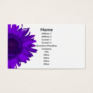 Purple and White Pop Art Sunflower Business Card