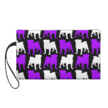 Purple and White Pug Silhouette Wristlet Clutches