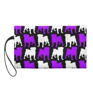 Purple and White Pug Silhouette Wristlet Purse