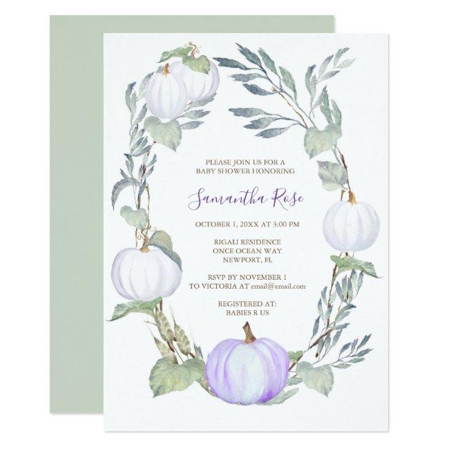 Purple and WHITE PUMPKIN Greenery BABY Shower Invitation