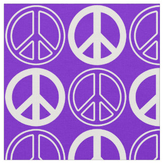 Purple and White Retro Peace Sign Pattern Fabric