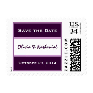 Purple and White Save Date Bride Groom Wedding Stamp
