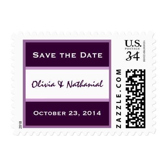 Purple and White Save Date Bride Groom Wedding Postage