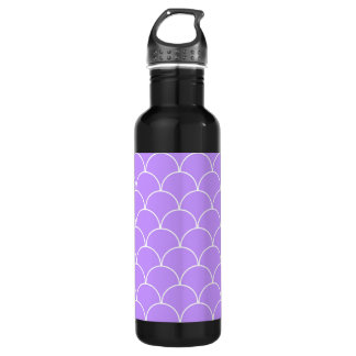Purple and White Scallop Pattern Stainless Steel Water Bottle