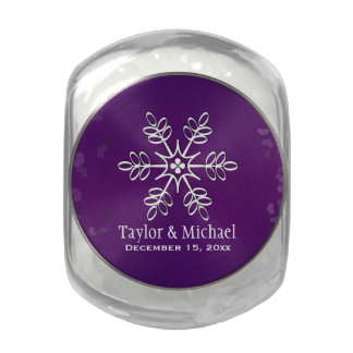 Purple and White Snowflake Glass Candy Jar