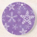 Purple and White Snowflake Pattern Beverage Coaster