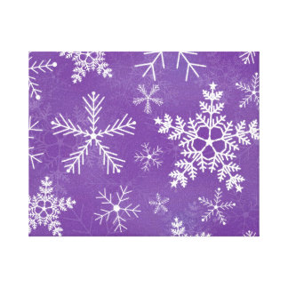 Purple and White Snowflake Pattern Stretched Canvas Print