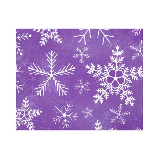 Purple and White Snowflake Pattern Canvas Print