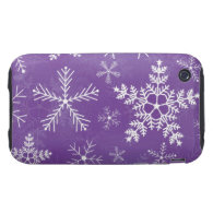 Purple and White Snowflake Pattern iPhone 3 Tough Covers