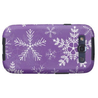 Purple and White Snowflake Pattern Samsung Galaxy S3 Cases