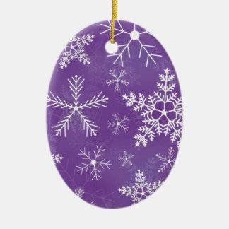 Purple and White Snowflake Pattern Ceramic Ornament